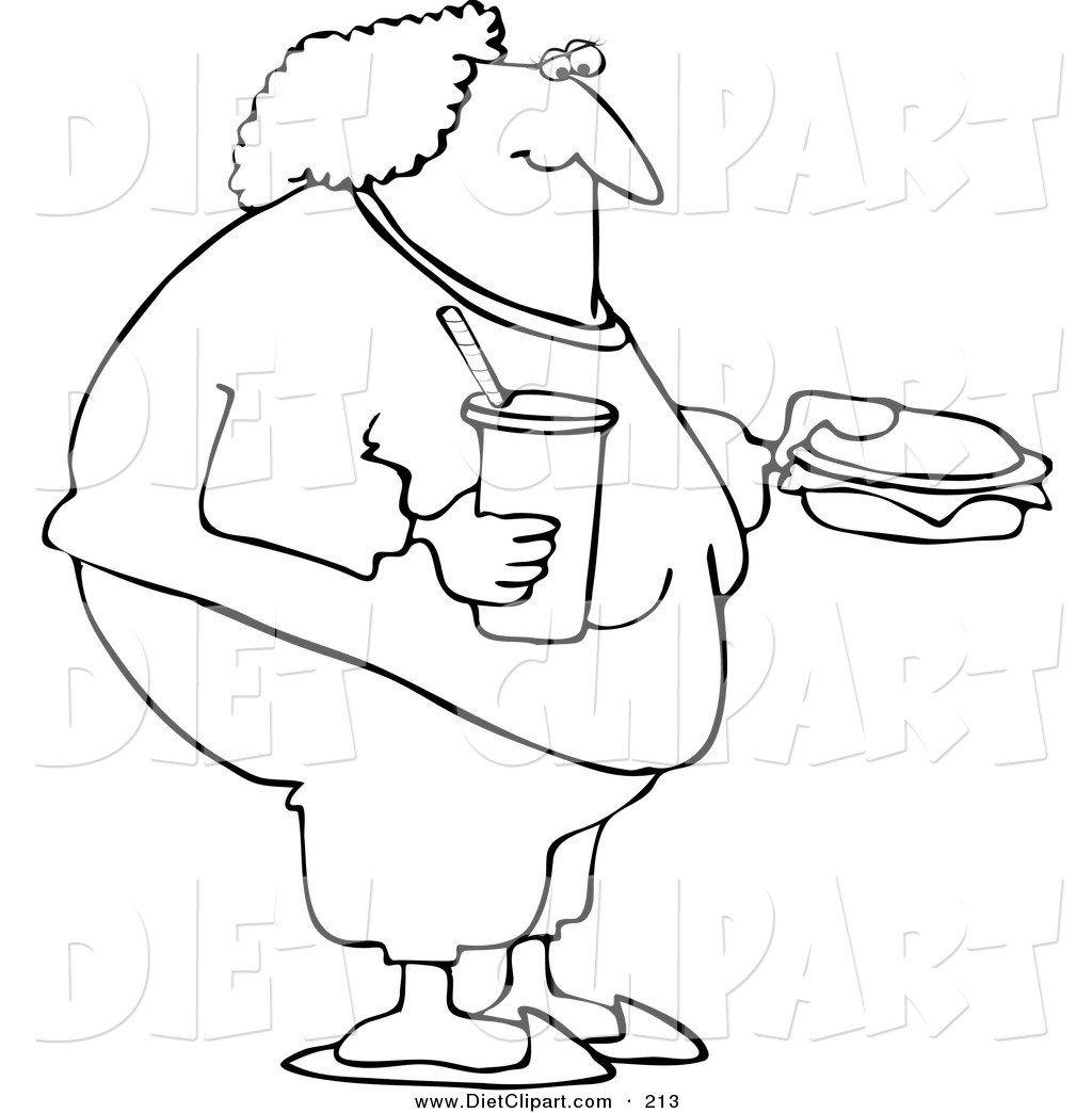 Coloring Page Outline Design Of A Fat Woman Eating Fast Food By Djart
