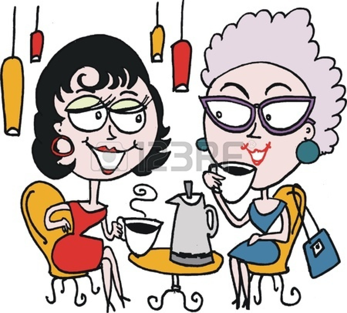 Drinking Coffee Images 12233389 Cartoon Of Two Woman Drinking Coffee