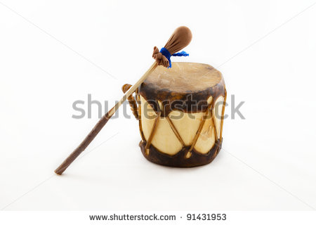 Native American Drum And Stick Isolated On White   Stock Photo