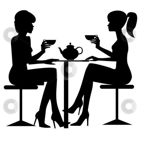 Tea Time Stock Vector Clipart Two Women Drinking Tee Or Coffe  Black