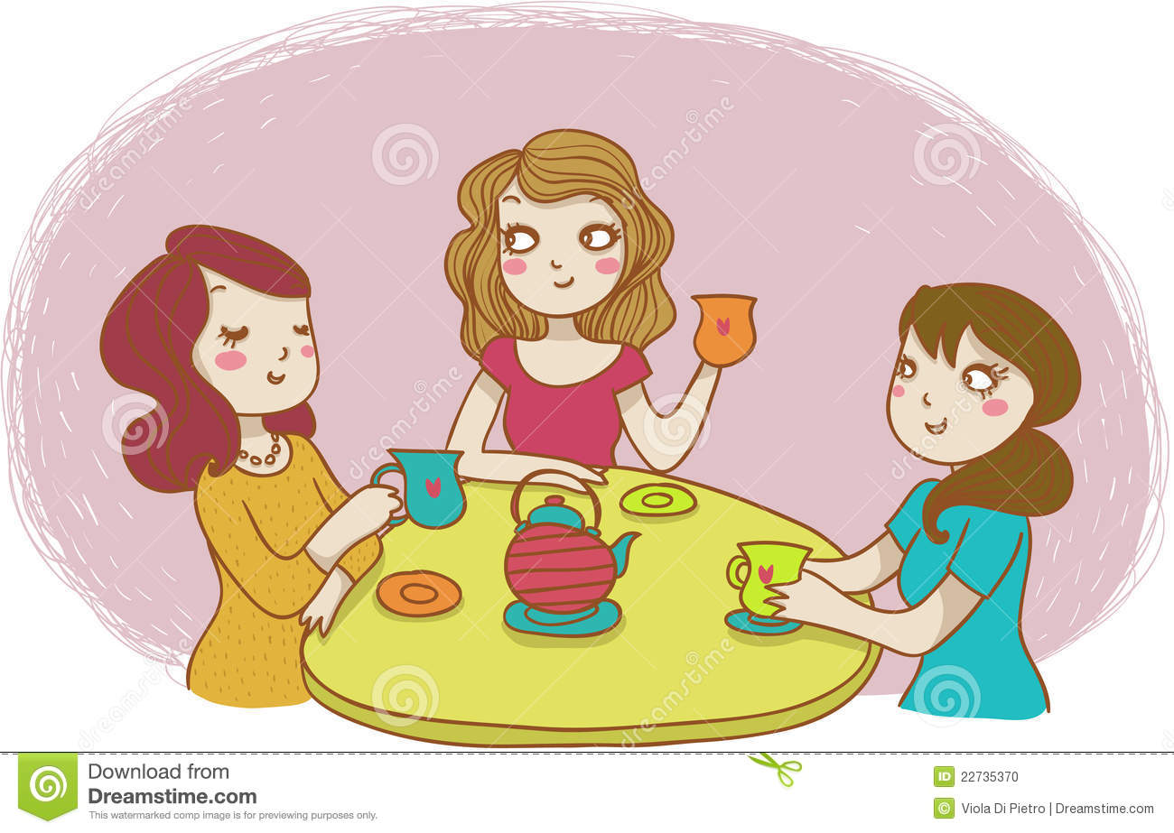 Three Chatting Women At An Happpy Tea Time  Vector