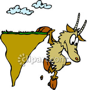 Cartoon Goat Falling Off A Cliff   Royalty Free Clipart Picture