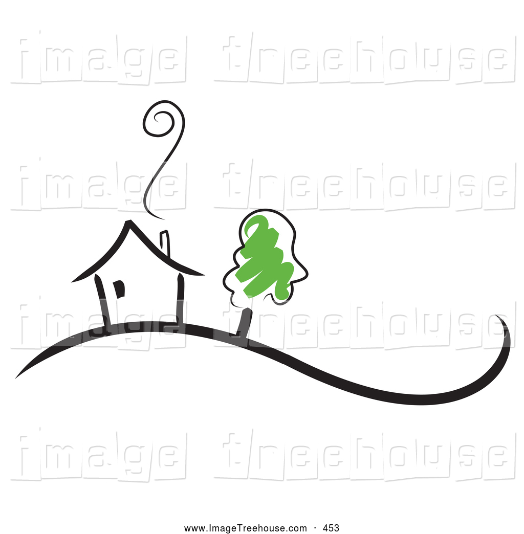 Clipart Of A Growing Tree By A Black Sketched Home With Smoke Rising