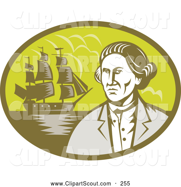 Clipart Of An Explorer And Ship Oval Logo By Patrimonio    255