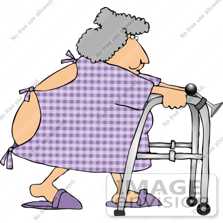 Elderly Woman In Hospital Gown Using A Walker Clipart    13356 By