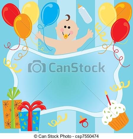 Eps Vector Of Happy Birthday Baby Boy Invitation With Room For Copy