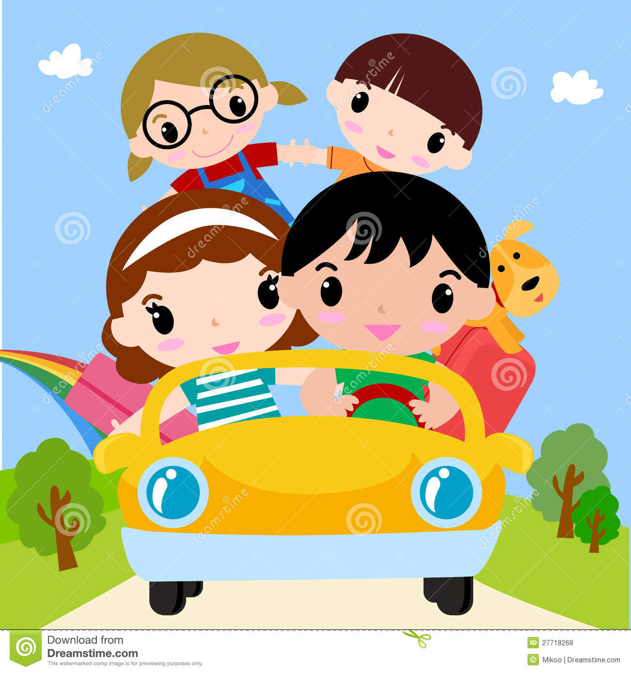 Happy Family In Car On Vacation Royalty Free Stock Photos   Image