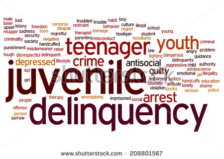 Juvenile Delinquency Concept Word Cloud Background   Stock Photo