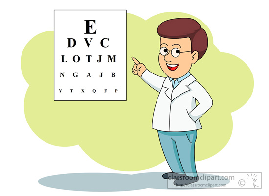 Medical   Eye Doctor With Eye Exam Chart   Classroom Clipart
