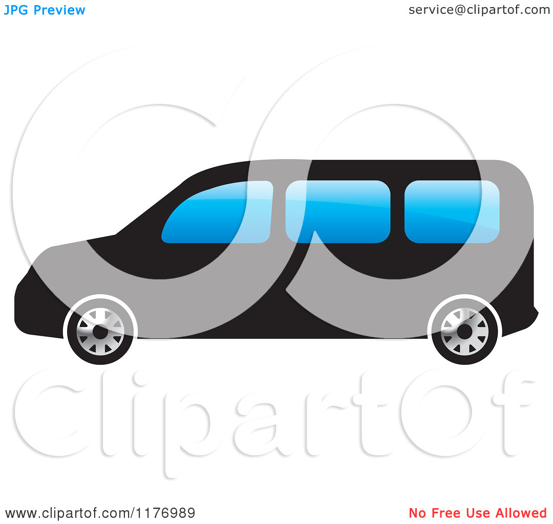 Minivan Clipart Clipart Of A Black Mini Van With Blue Windows Royalty