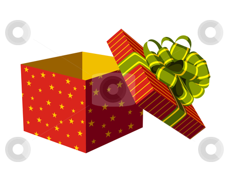 Open Gift Box Stock Vector Clipart Red Open Gift Box With Green And
