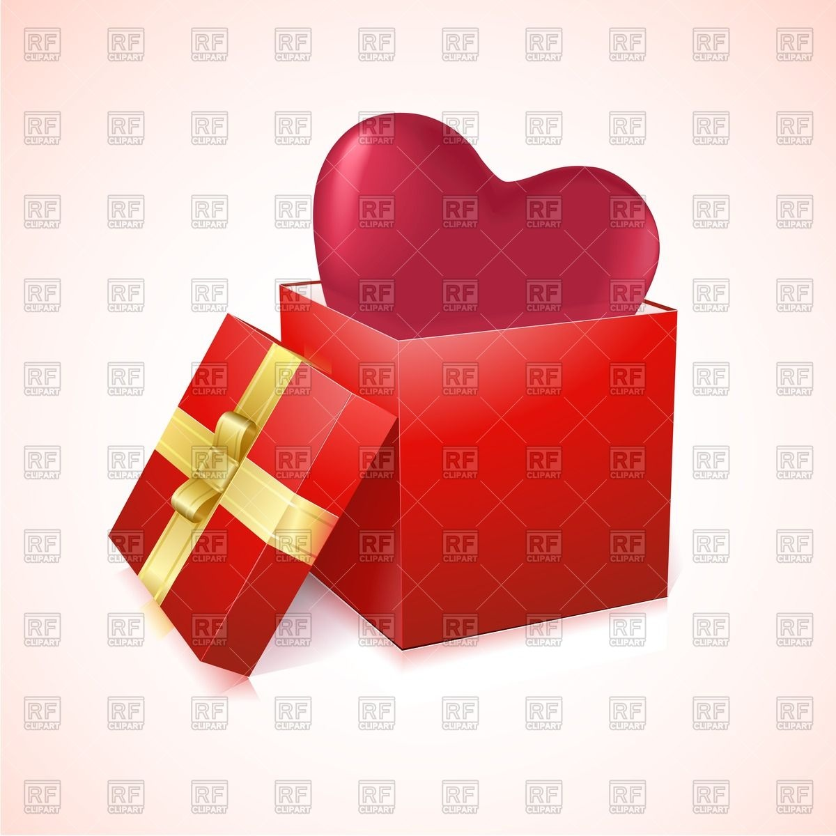 Open Gift Box With Heart Inside Download Royalty Free Vector Clipart