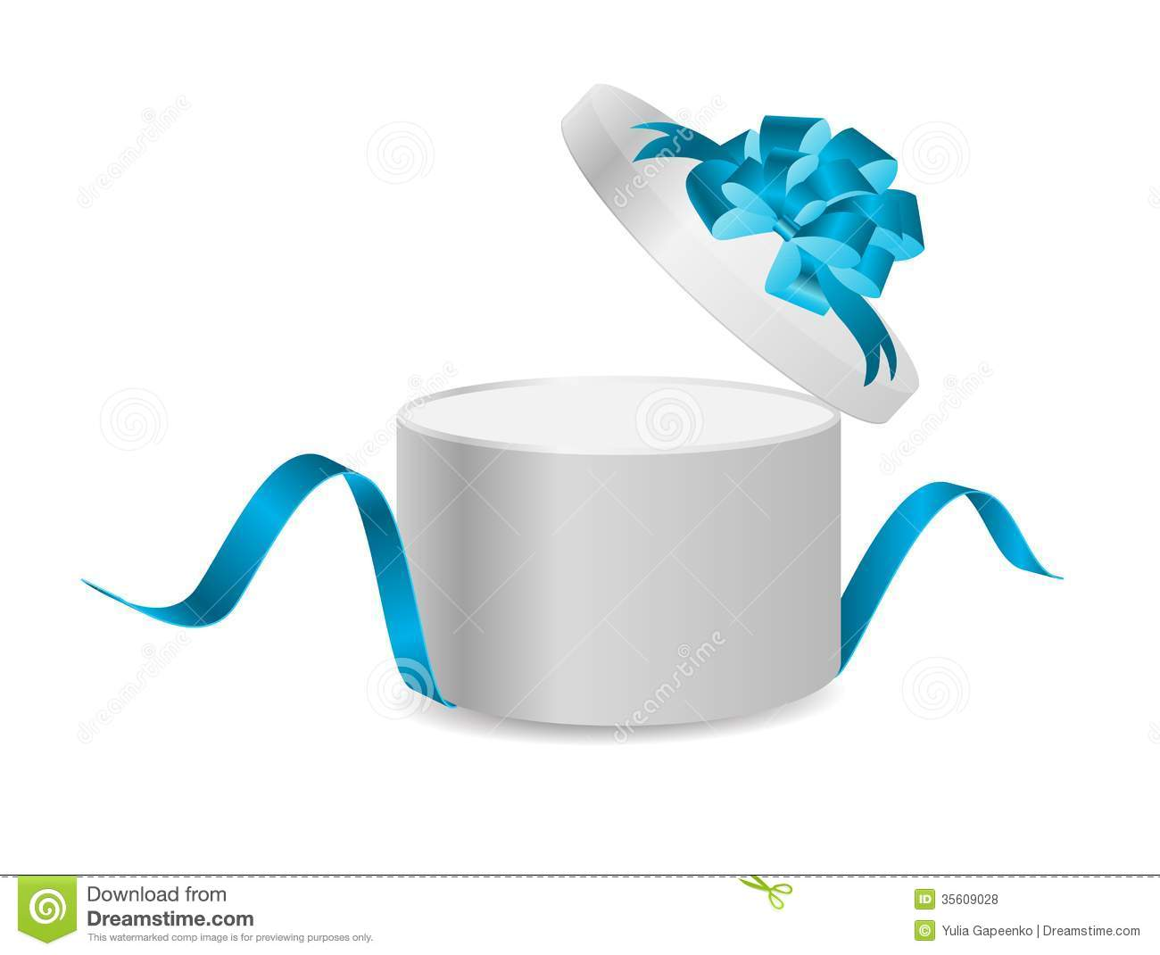 Open Present Open Gift Box With Ribbon And