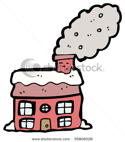 Snowy House With Smoking Chimney Cartoon Stock Photo 95806528
