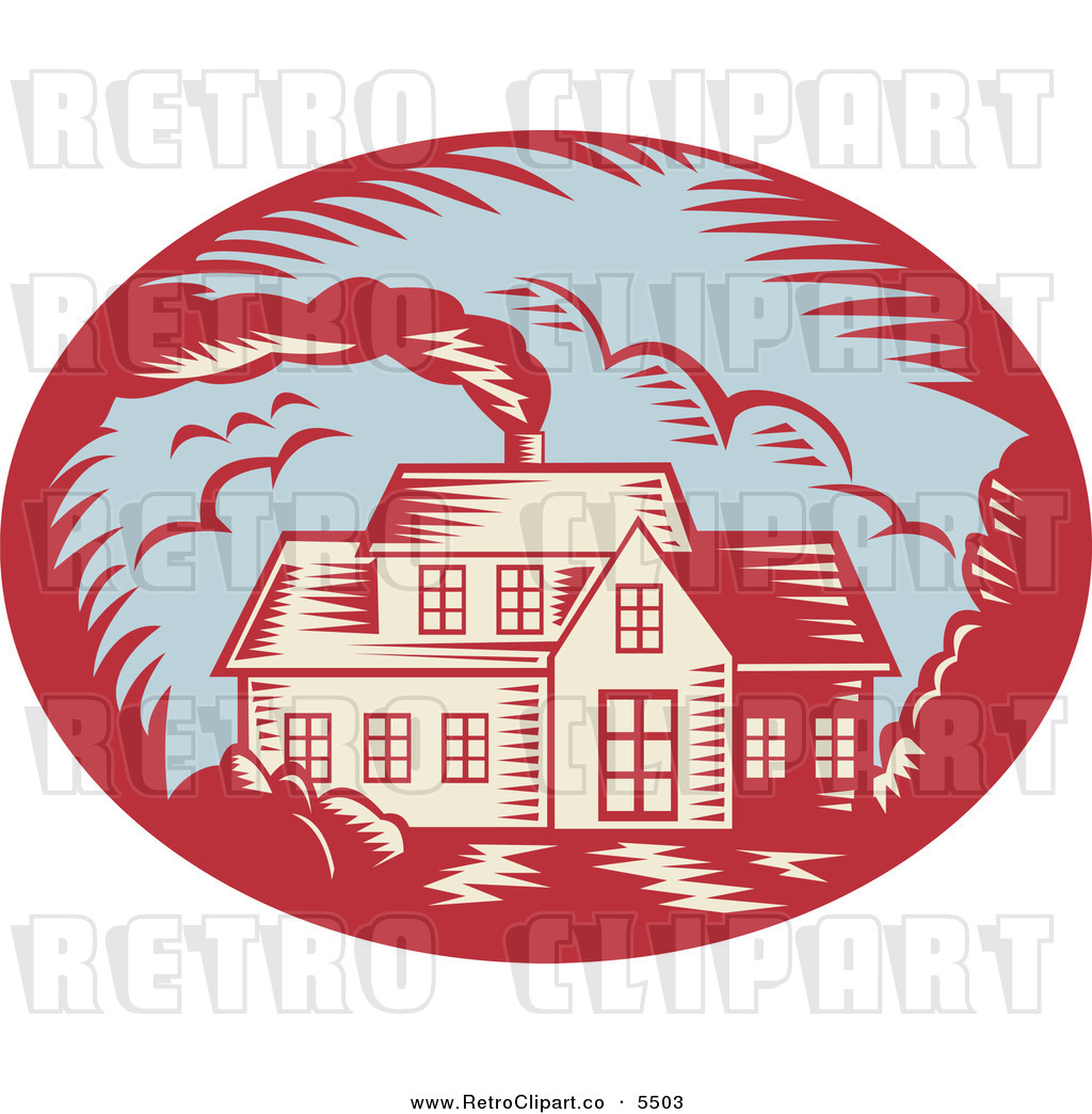 Vector Clipart Of A Retro Woodcut House With Smoke Rising From The