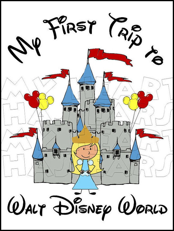 Your Characters Princess Disney World Castle Vacation Digital Clip Art