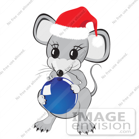 31861 Clipart Illustration Of A Cute Little Gray Mouse Wearing A Red