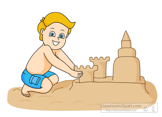 Boy Playing In Sand Creating Large Sandcastle   Classroom Clipart
