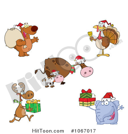 Christmas Animal Clipart   Vectors  1