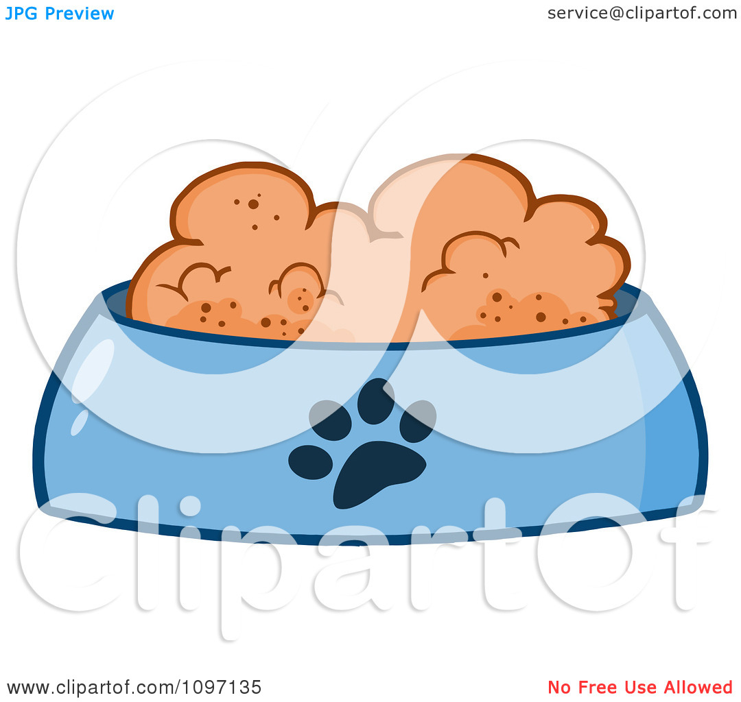 Dog Bowl Clip Art Clipart Wet Dog Food In A Blue Food Bowl Dish