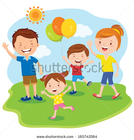 Family Day  Happy Family Outing Fun In The Sunny Day  Stock Vector