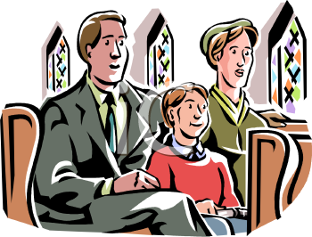 Family Sitting In Church   Royalty Free Clip Art Image