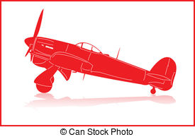 Fighter Planes   World War 2 Fighter Plane In Red Silhouette