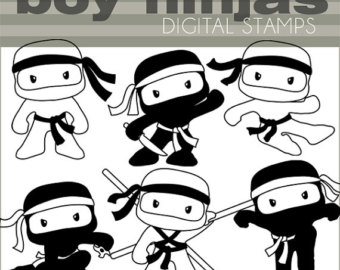 Ninja Clipart Set  Personal And Commercial  Cute Boy Ninjas Black Line