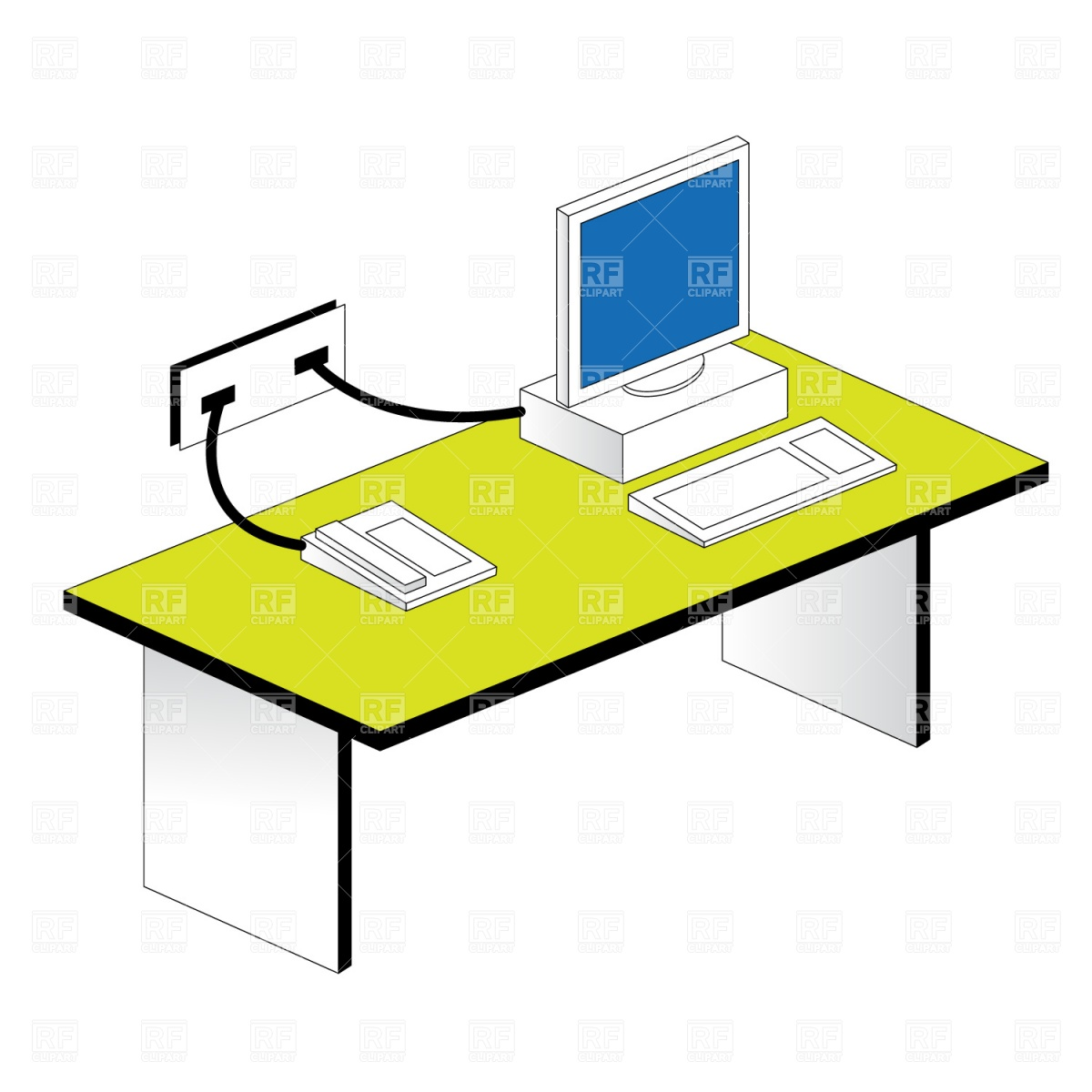 Workplace   Table And Computer Download Free Vector Clipart  Eps