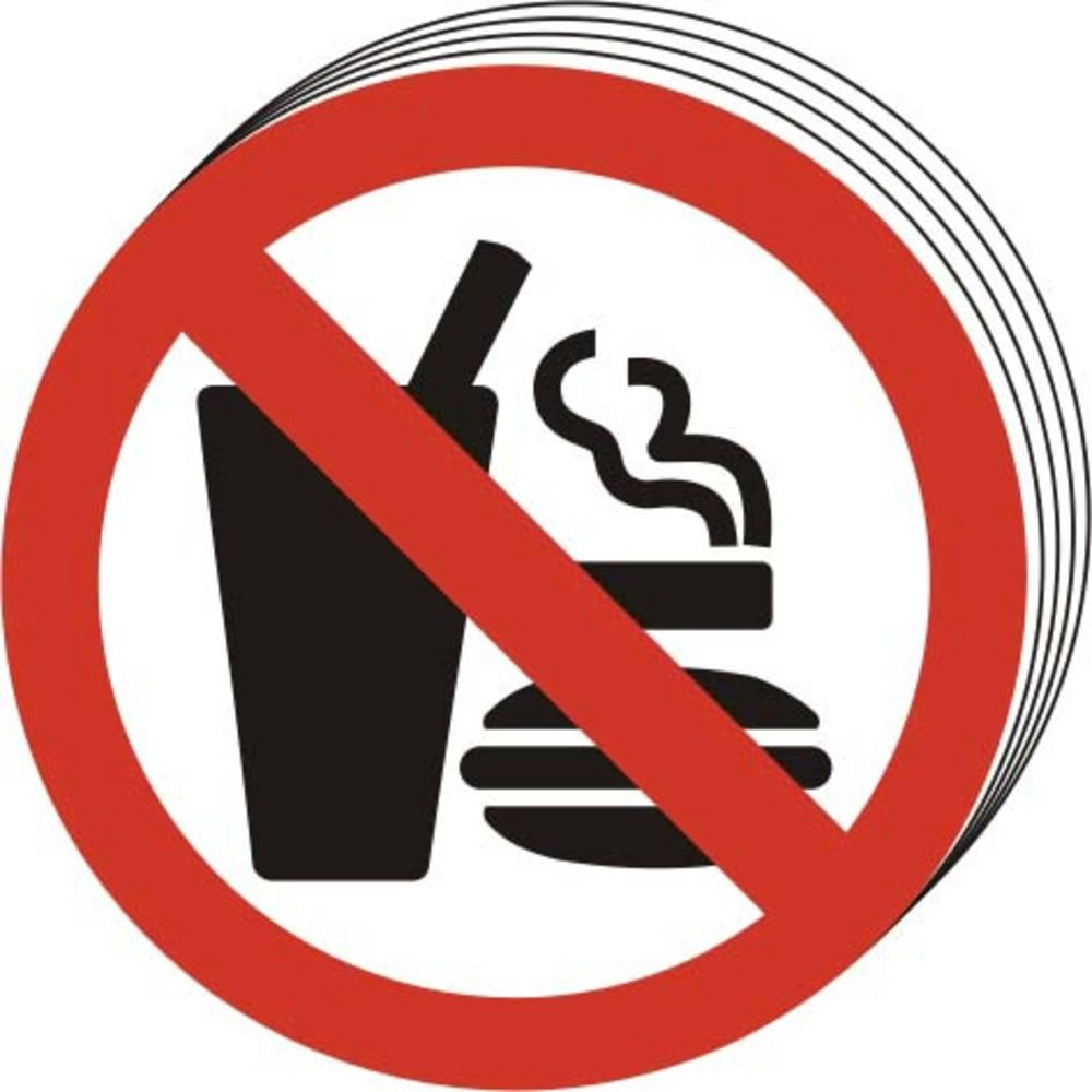 10 No Eating No Drinking No Smoking Symbol Self Adhesive Vinyl
