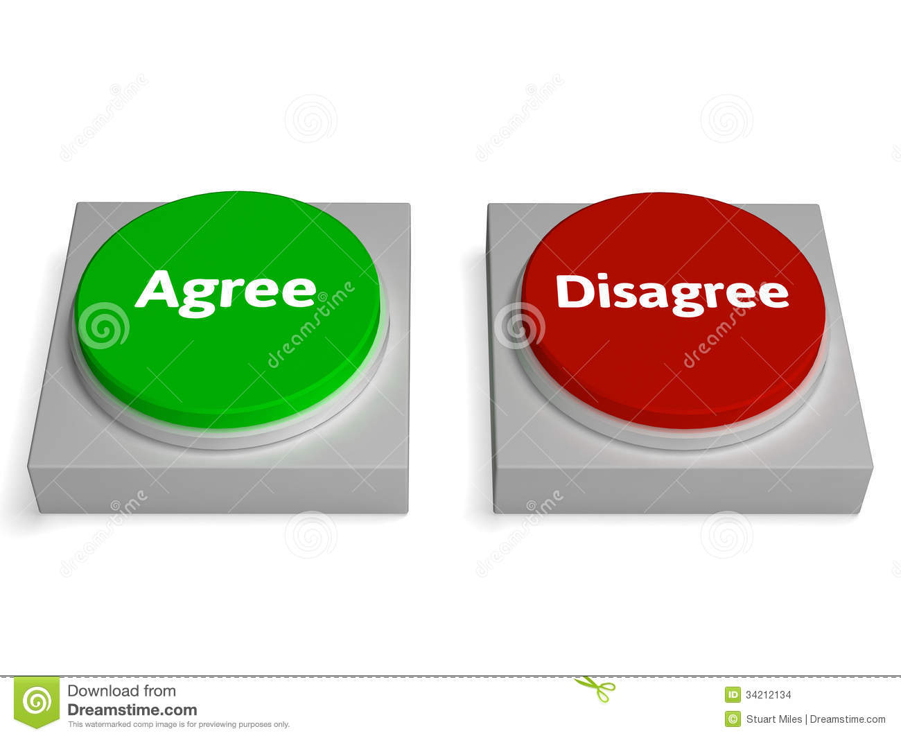 Agree Disagree Buttons Shows Agreement Stock Images   Image  34212134