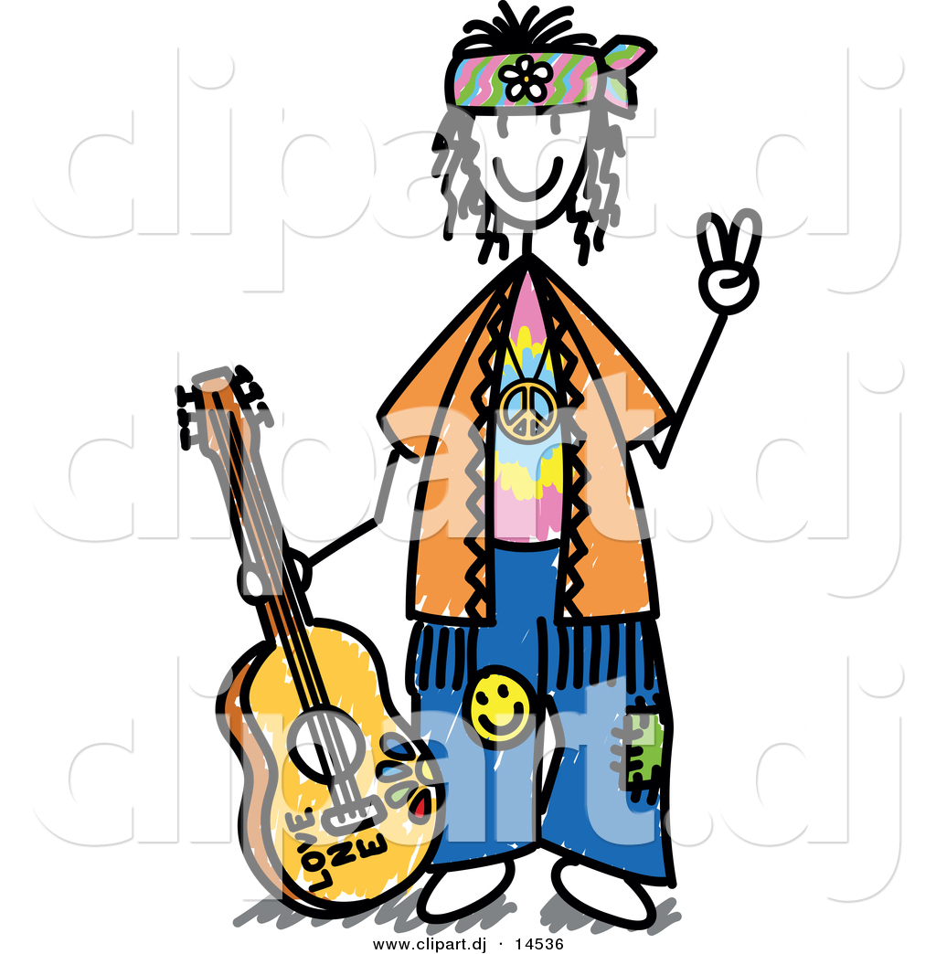 Cartoon Smiling Hippie Peace Sign Stock Vector Pictures