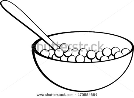Cereal Bowl With Spoon   Stock Vector
