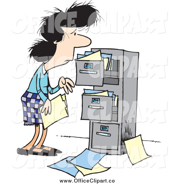 Clip Art Of A Cartoon Tired Caucasian Businesswoman At A Messy Cabinet