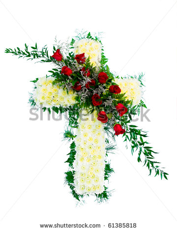 Colorful Funeral Flower Arrangement With Cross Design    Stock Photo