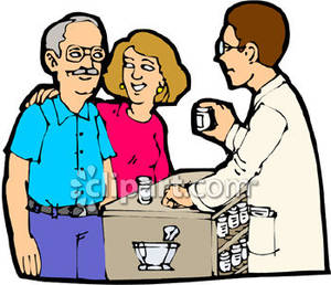 Explaining Medicine To An Elderly Man   Royalty Free Clipart Picture