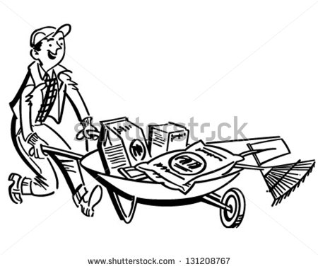Landscaping Tools Clipart Man With Gardening Supplies