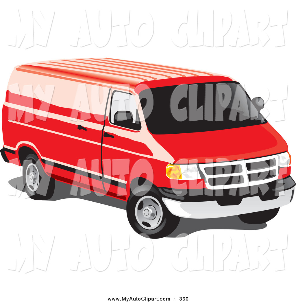 Larger Preview  Clip Art Of A Red Full Size Van With Tinted Windows