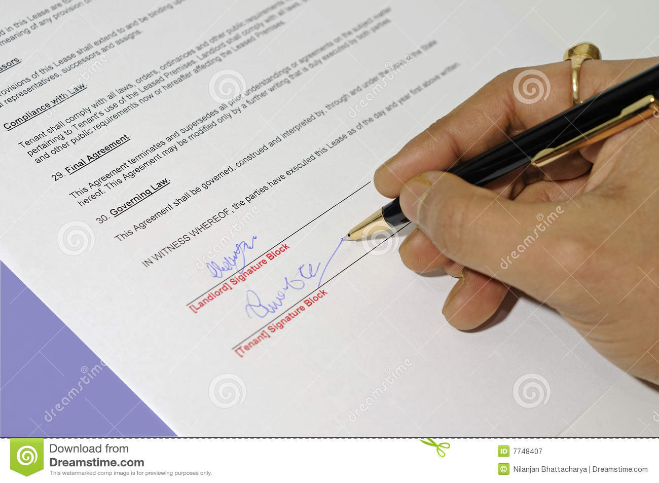 Lease Agreement Being Signed Royalty Free Stock Photography   Image