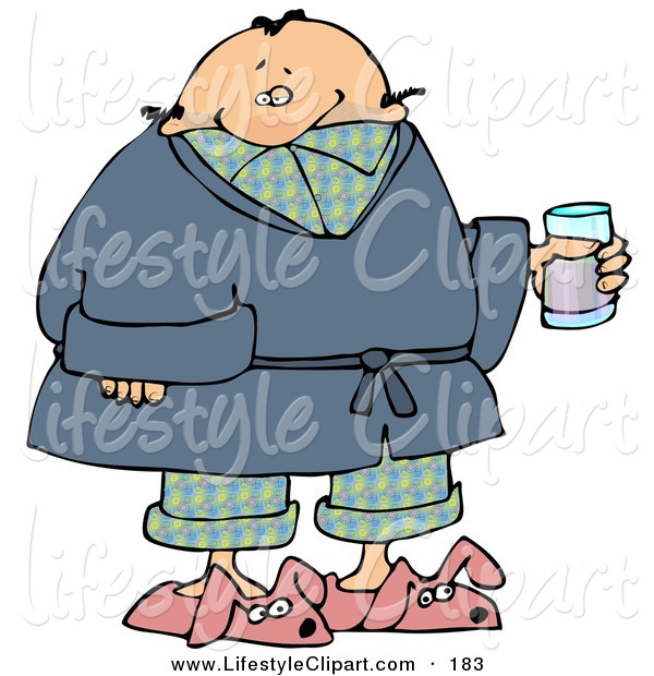 Lifestyle Clipart Of A Sick Man In Pjs Slippers And A Robe Taking