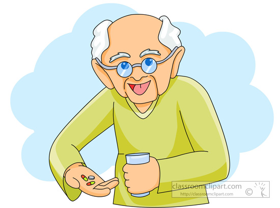 Medical   Old Man Taking Medicine Pills   Classroom Clipart
