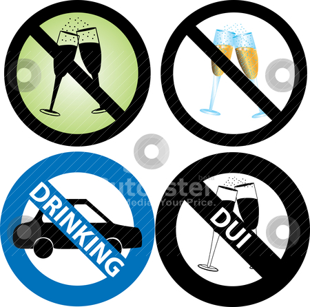 No Drinking Sign Stock Vector Clipart Vector Illustration Of Four No