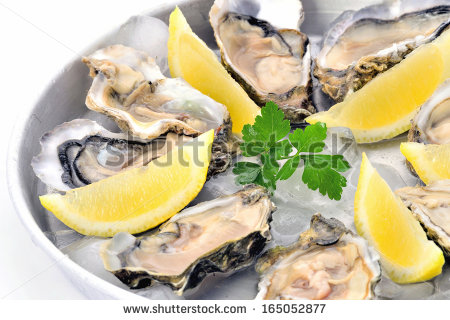 Raw Oysters Plate With Lemon On Ice Closeup White Background Fresh