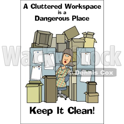 Royalty Free  Rf  Clipart Illustration Of A Woman In A Cluttered
