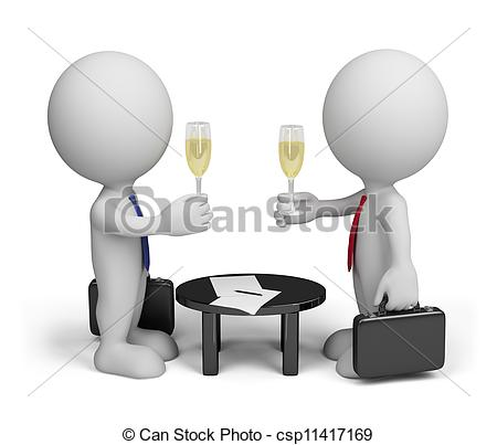 Stock Illustration Of Successful Agreement   Two Men Signed A Document