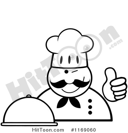 1169060 Cartoon Of A Happy Black And White Chef Holding A Cloche