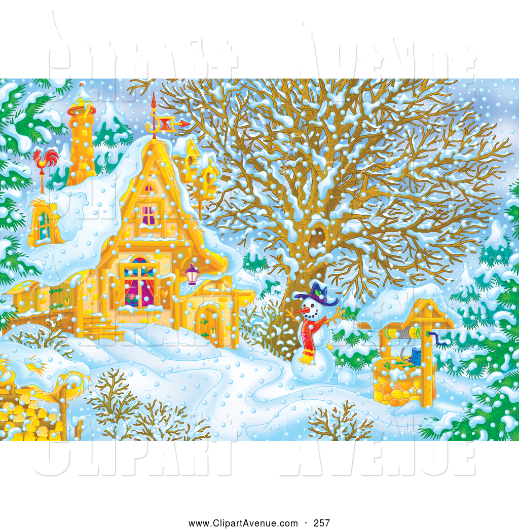 Avenue Clipart Of A Snowman Beside A Well Near A Home On A Snowy Cold