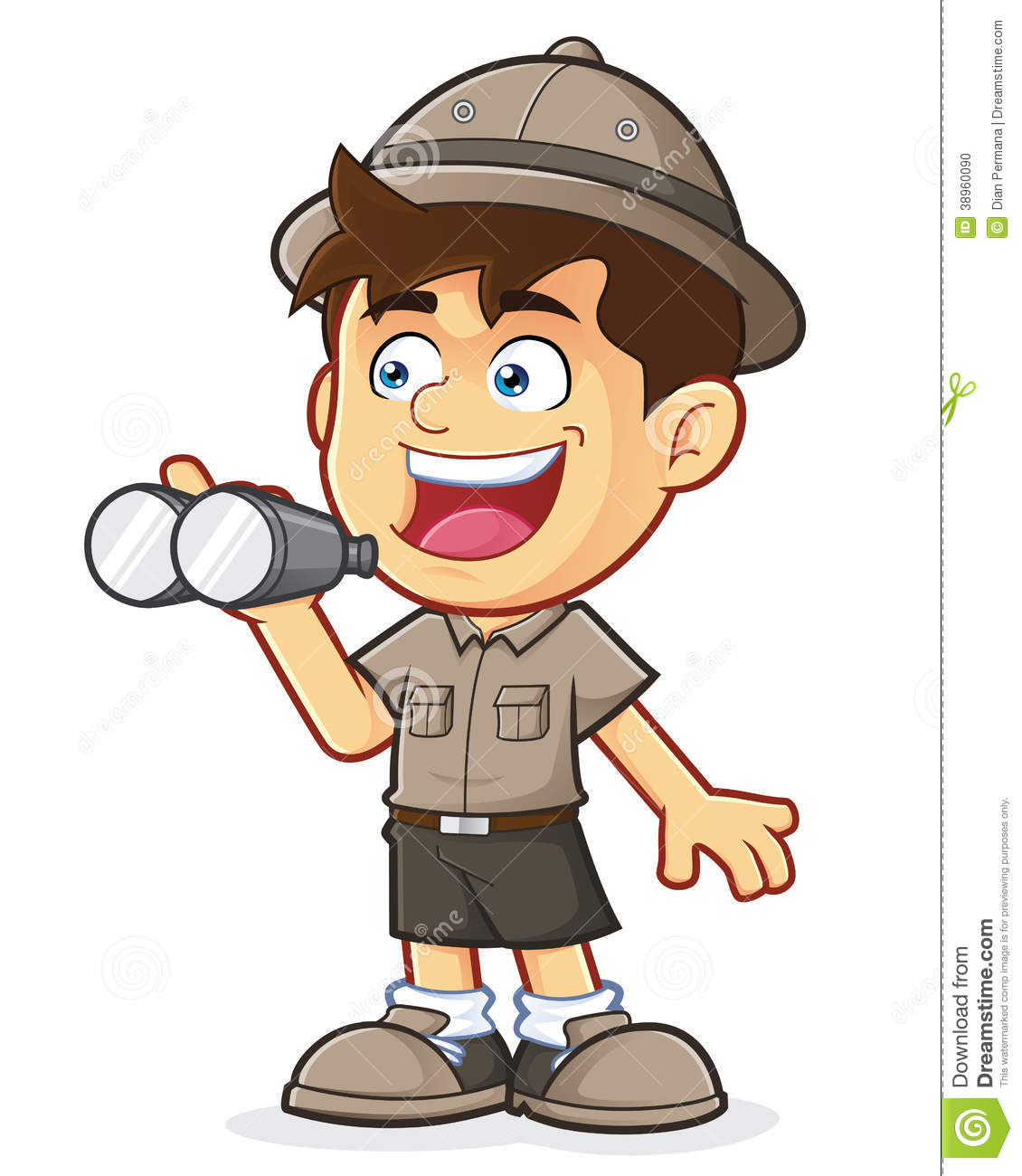 Boy Scout Or Explorer Boy With Binoculars Stock Vector   Image