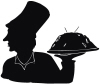 Chef Holding Platter Silhouette For Address Labels Or Rubber Stamps