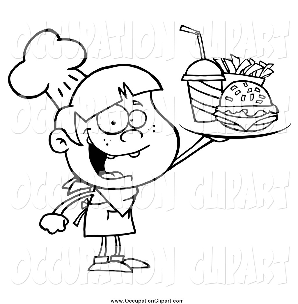 Clip Art Of A Black And White Burger Boy Holding Up A Tray With A